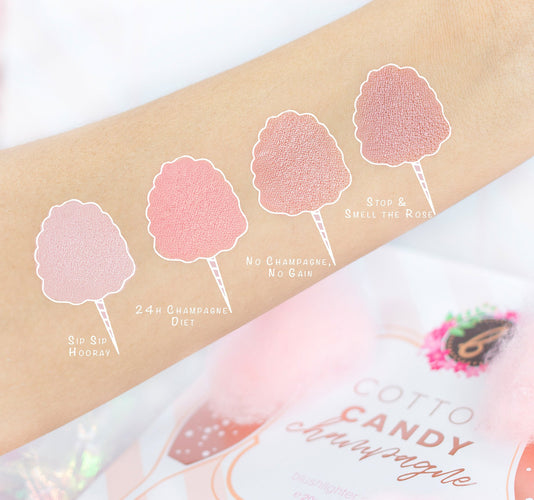 COTTON CANDY CHAMPAGNE BLUSH PALETTE ARM SWATCHES