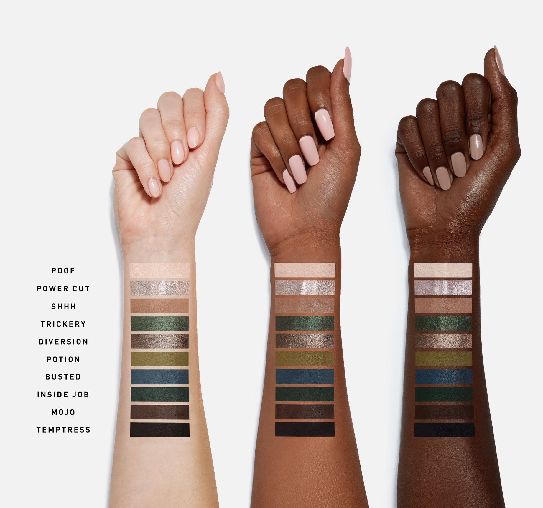 DARK MAGIC EYESHADOW PALETTE ARM SWATCHES, view larger image