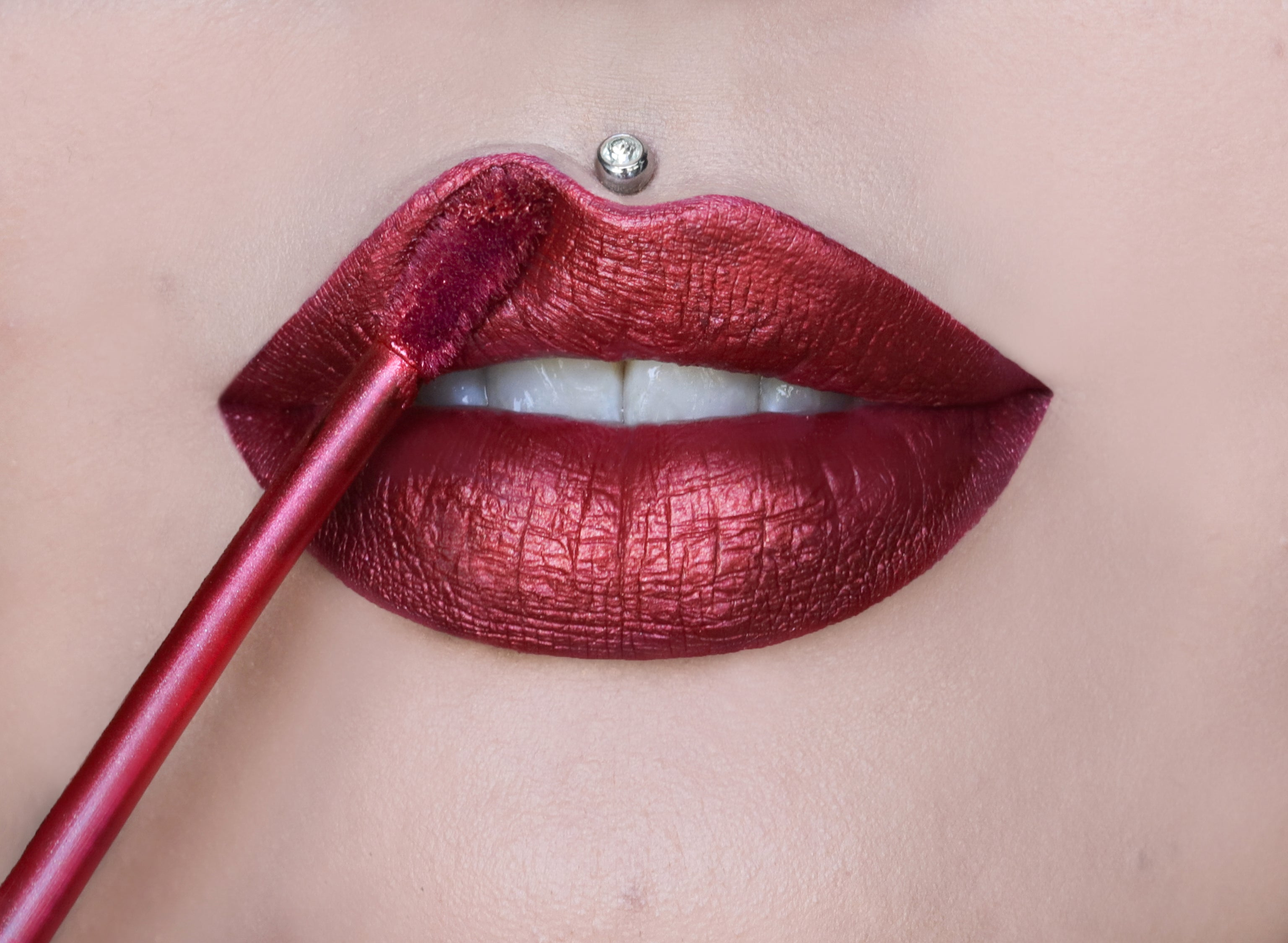 VELOUR LIQUID LIPSTICK - POINSETTIA ON MODEL, view larger image