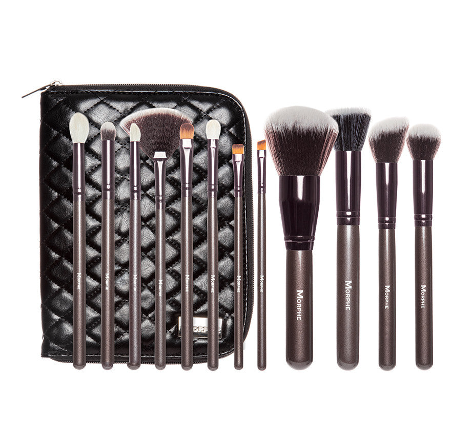 Brush Sets Morphe Us 36 Pcs Professional Cosmetic Facial Wood Make Up Makeup Brushes Tools Kit Set With Black Leather Case 503 12 Piece Beautiful And Bronze