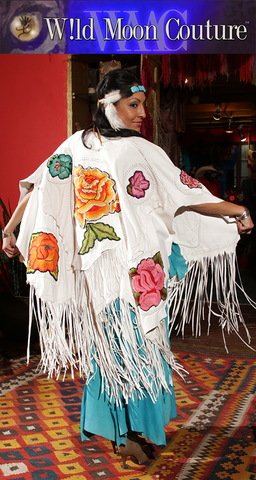 "Xochitl ""Finale"" - White Deerskin Shawl"