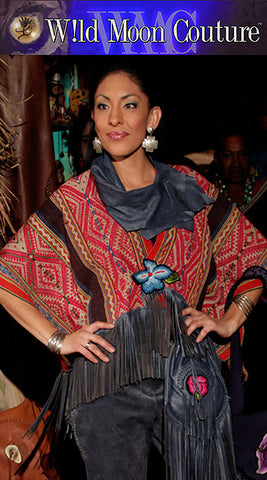 "Xochitl ""Apu"" - Poncho-Cape with Leather Fringe  SOLD"