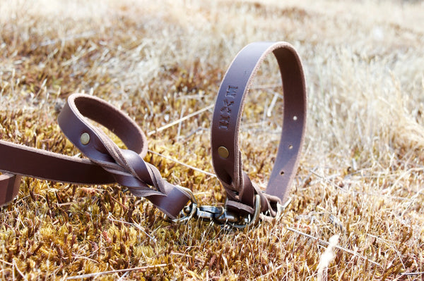 Braided Leather Collar - Brun