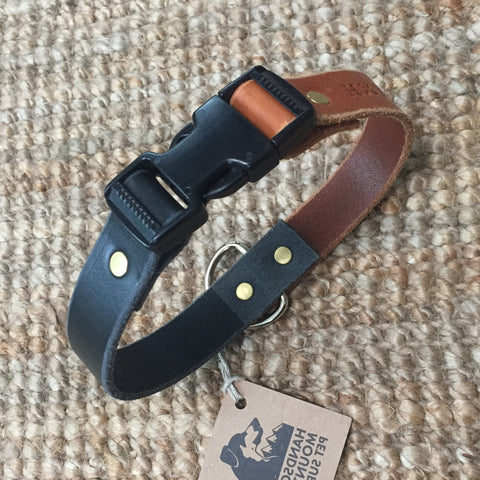 "1""Wide: 20"" ~ Clip Collar: Black/Cognac"