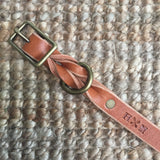 "3/4""Wide: 12-16"" Long ~ Braided Collar: Cognac"