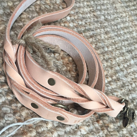 "3/4""Wide: Braided Leash ~ Natural"