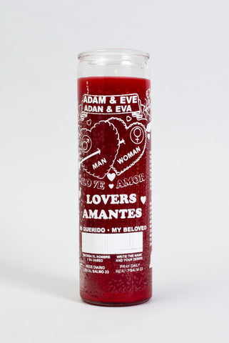 Adam & Eve Love Drawing 7 Day Glass Candle