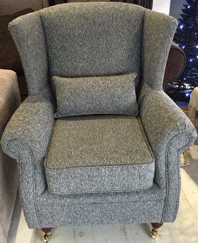Vintage Style Wing Chair (Grey)