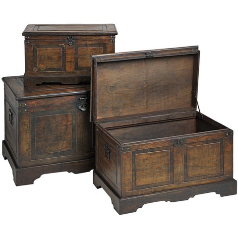 Set of Flat Topped Antique Effect Trunks