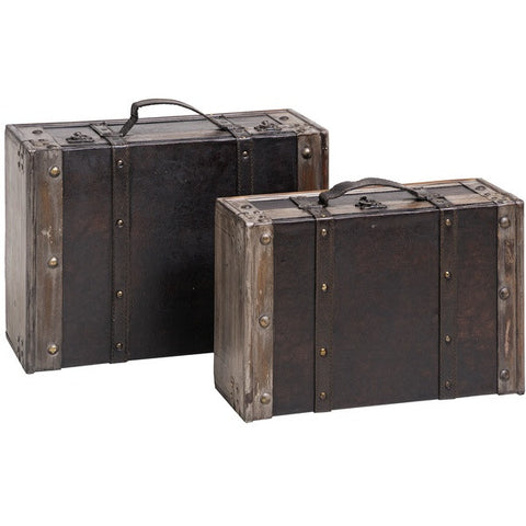Set of 2 Antique Effect Trunks with Straps & Carry Handles