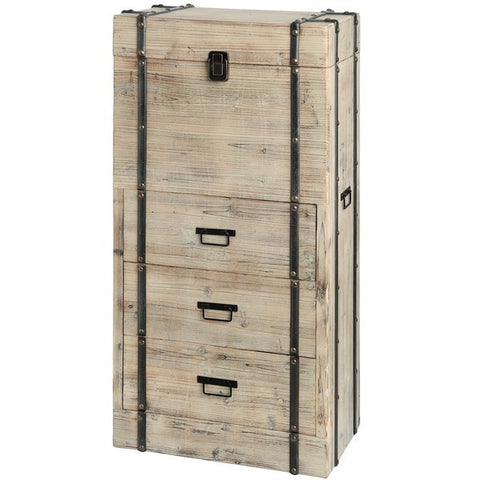 Tall 3 Drawer Wooden Chest