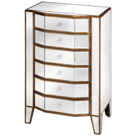 Venetian Mirrored 6 Drawer Tallboy