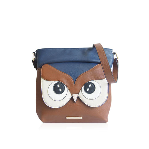 Anna Smith Lune Owl Shoulder Bag in Brown & Navy