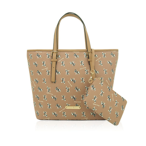 Anna Smith Dog Print Shopper in Light Brown