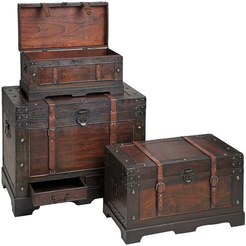 Flat Topped Antique Effect Trunks with Straps