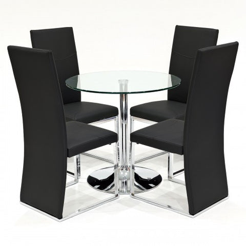 Clear Glass Dining Set with 4 Anderson Black Dining Chairs