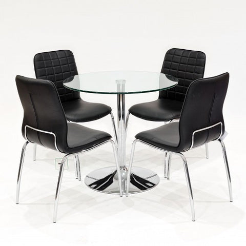 Clear Glass Dining Set with 4 Checkers Black Dining Chairs