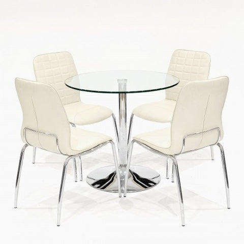 Clear Glass Dining Set with 4 Checkers Cream Dining Chairs