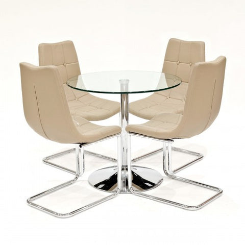 Clear Glass Dining Set with 4 Menson Beige Dining Chairs