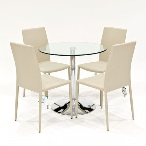 Clear Glass Dining Set with 4 Selina Beige Dining Chairs