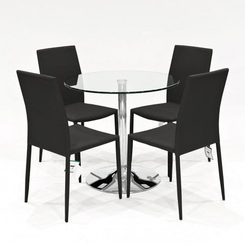 Clear Glass Dining Set with 4 Selina Black Dining Chairs