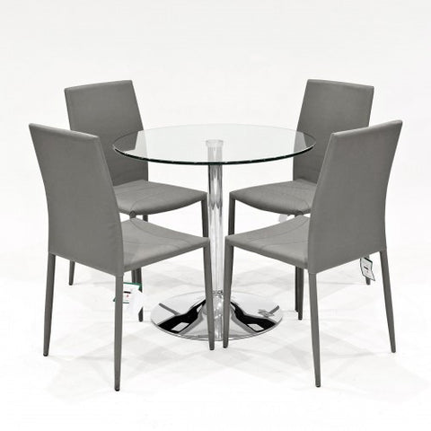 Clear Glass Dining Set with 4 Selina Grey Dining Chairs
