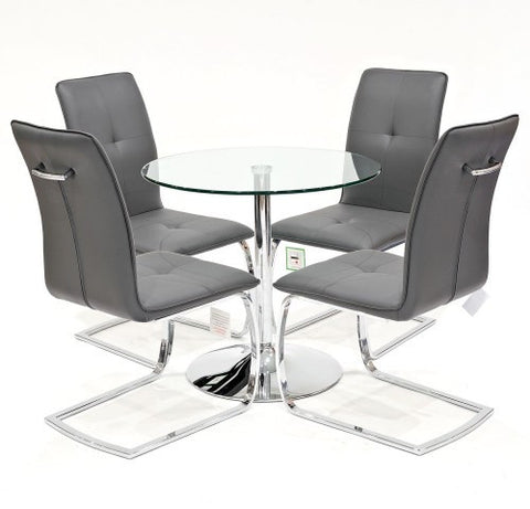 Clear Glass Dining Set with 4 Belmont Grey Dining Chairs