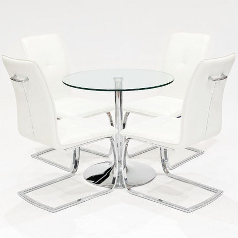 Clear Glass Dining Set with 4 Belmont White Dining Chairs