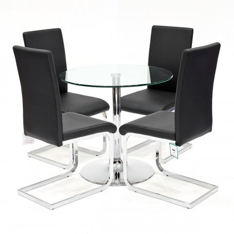 Clear Glass Dining Set with 4 Brescia Black Dining Chairs