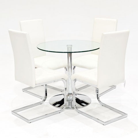 Clear Glass Dining Set with 4 Brescia White Dining Chairs
