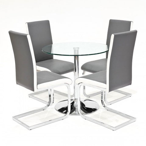 Clear Glass Dining Set with 4 Brescia Grey Dining Chairs