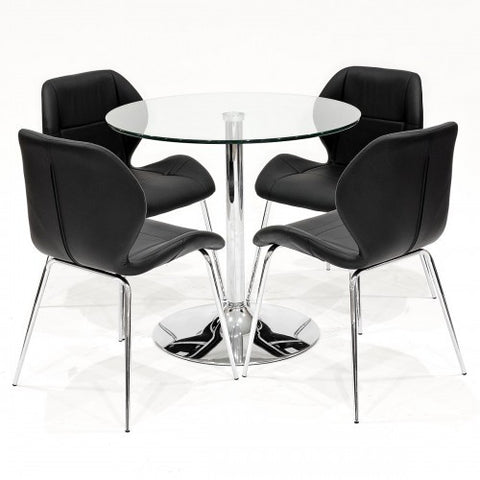Clear Glass Dining Set with 4 Dinky Black Dining Chairs