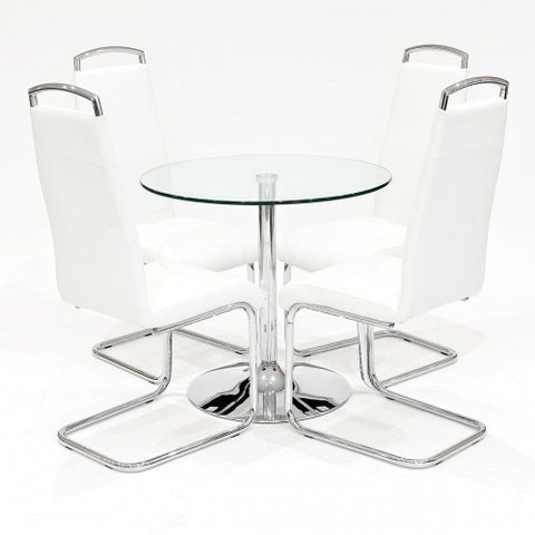 Clear Glass Dining Set with 4 Handleback White Dining Chairs