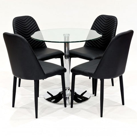 Clear Glass Dining Set with 4 Riversway Black Dining Chairs