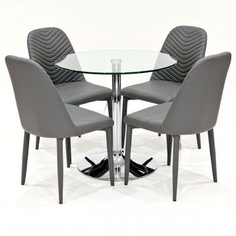 Clear Glass Dining Set with 4 Riversway Grey Dining Chairs