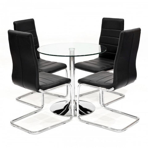 Clear Glass Dining Set with 4 Svenska Black Dining Chairs