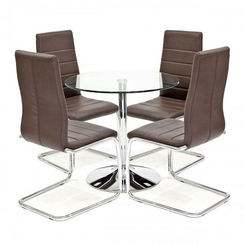 Clear Glass Dining Set with 4 Svenska Brown Dining Chairs