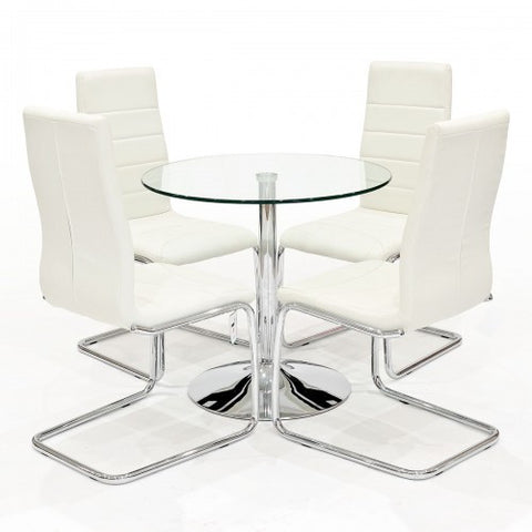 Clear Glass Dining Set with 4 Svenska Cream Dining Chairs