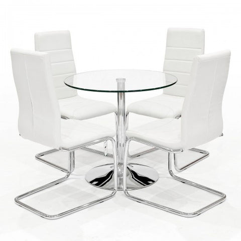 Clear Glass Dining Set with 4 Svenska White Dining Chairs