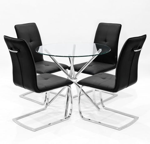 Criss Cross Glass Dining Set with 4 Belmont Black Dining Chairs