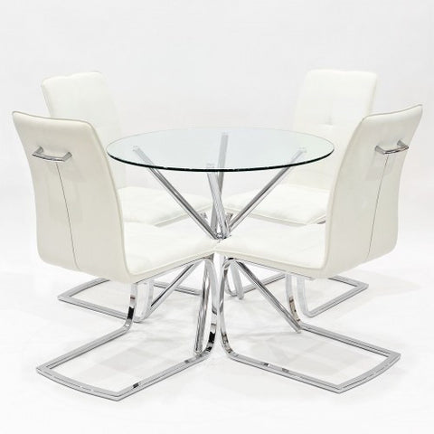 Criss Cross Glass Dining Set with 4 Belmont Cream Dining Chairs