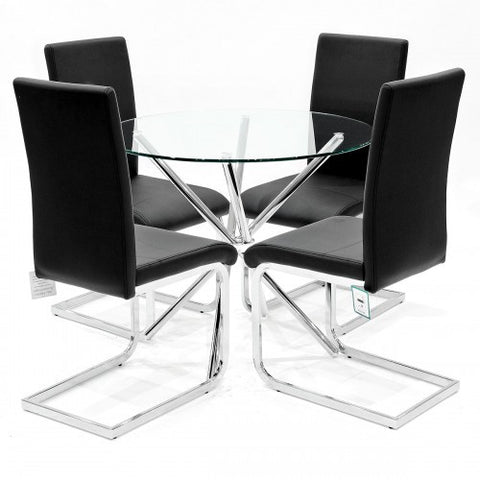 Criss Cross Glass Dining Set with 4 Brescia Black Dining Chairs