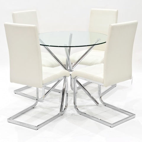 Criss Cross Glass Dining Set with 4 Brescia Cream Dining Chairs