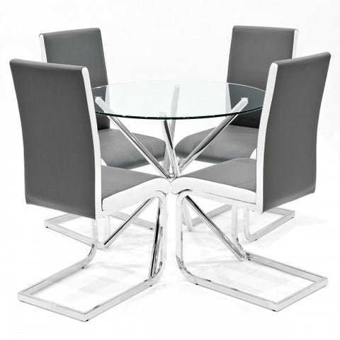 Criss Cross Glass Dining Set with 4 Brescia Grey Dining Chairs