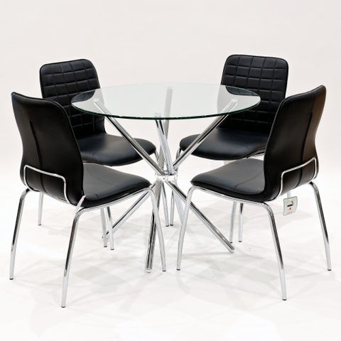 Criss Cross Glass Dining Set with 4 Checkers Black Dining Chairs