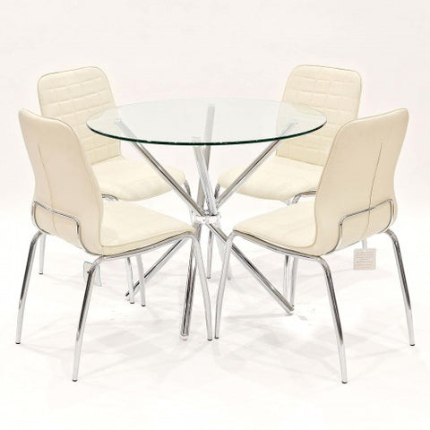 Criss Cross Glass Dining Set with 4 Checkers Cream Dining Chairs
