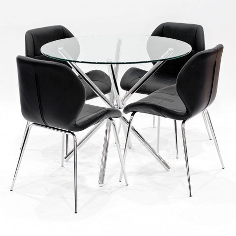 Criss Cross Glass Dining Set with 4 Dinky Black Dining Chairs
