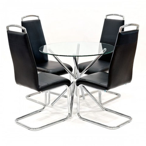 Criss Cross Glass Dining Set with 4 Handleback Black Dining Chairs