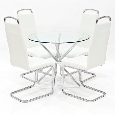 Criss Cross Glass Dining Set with 4 Handleback White Dining Chairs