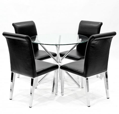 Criss Cross Glass Dining Set with 4 Kirkland Black Dining Chairs